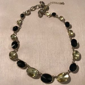 WHBM black and clear stone short necklace